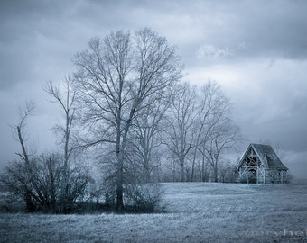 November - Icy blue photograph of a small hut in a field in Rhinebeck, New York. A cold and dreary Autumn afternoon near the Hudson Valley.