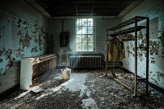 ROOM 2-091 Abandoned Asylum Urban Exploration Color Photograph, HDR, Forgotten Places, Signed Print
