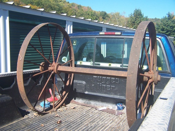 Antique Steel/ Iron  Wagon Wheels with  Axle - Farm Implement