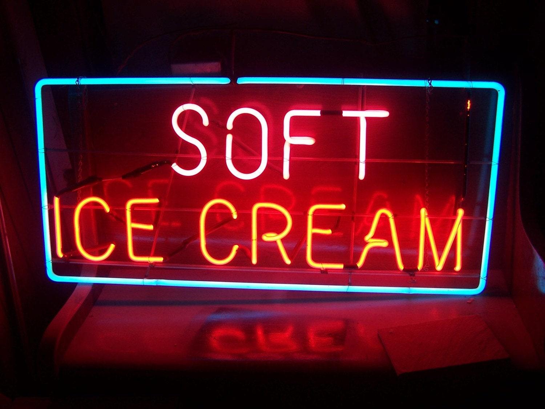 Vintage Neon Sign Soft Ice Cream Soda Fountain