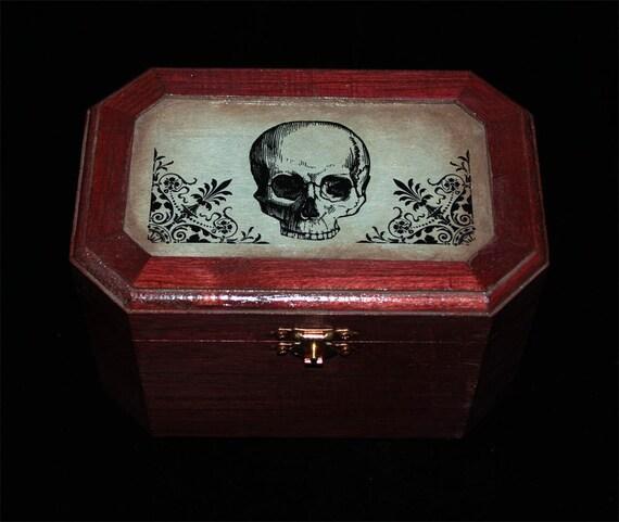 Red Human Skull Jewelry Box