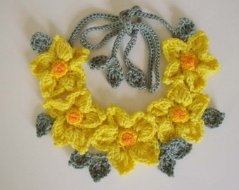 PDF Pattern Free form Crochet necklace Yellow flowers No 4