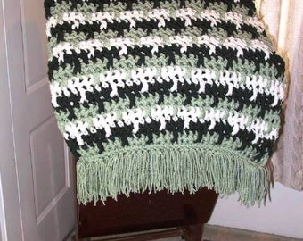 Greens and Aran 70 Inches x 43 Inches Fringed Crochet Afghan (NEW)