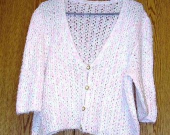 White and Fleck Women's Hand Knit Sweater Cardigan