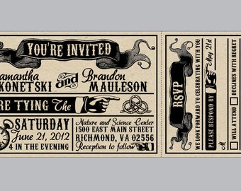 Rustic Wedding Invitations - Vintage Antique Edwardian Victorian Wedding Rustic Banner Ticket Invitations