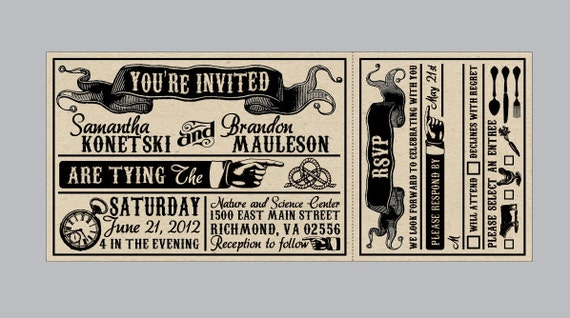 Rustic Wedding Invitations Vintage Antique Edwardian