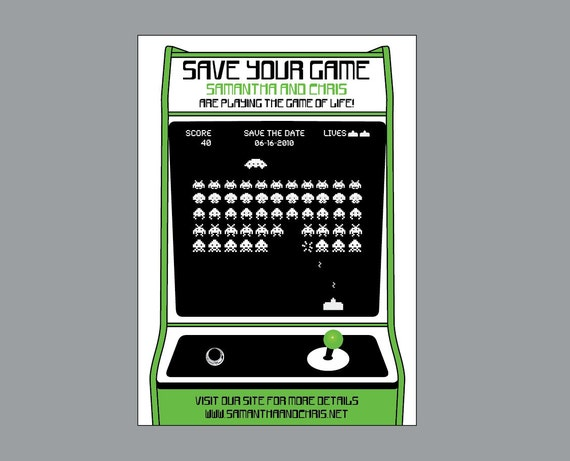 Save the Dates - Vintage Retro Old School Arcade Game Video Game Wedding Save the Date