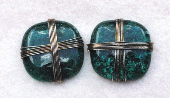 Brass and Glass Beads Large Vintage Wire Wrapped Glass Cabochons Dark Forrest Green A2