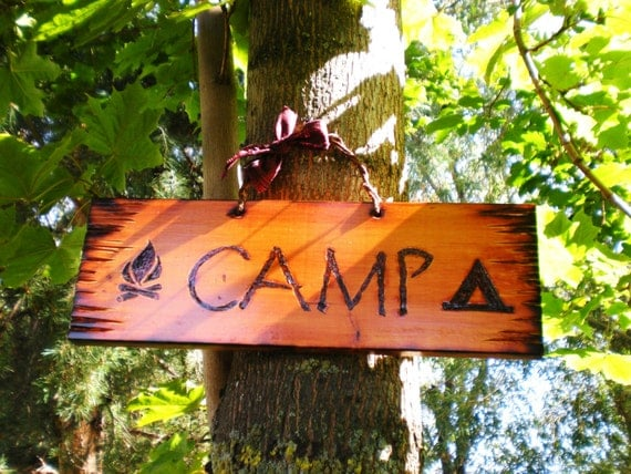 Pine Wood CAMP Autumn Fall Summer Rustic Log Cabin Wooden Primitive Sign