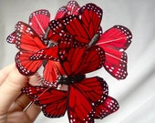 red butterfly hair comb - SWARM - whimsical hair accessory
