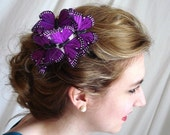 purple butterflies hair comb - CAST SHADOWS - whimsical bridal accessory, woodland