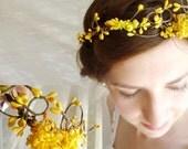 autumn wedding hair crown - PIXIE - bridal, yellow flower girl head wreath