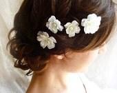 white flower hair pins - FALLEN STARS - wedding hair clips, bridal, bridesmaid accessories