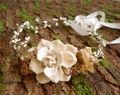bohemian wedding head piece - WILDWOOD - rustic woodland, fall ivory flower wreath