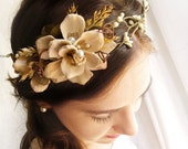 rustic wedding head piece - WILDWOOD - woodland, ivory floral crown, boho bridal