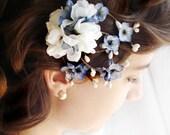 blue flower hair clip - BLUE JEAN BABY - a twiggy bridal accessory, flower girl, wedding