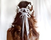 white cherry blossom head wreath - SHEPHERDESS - ribbon bows, bridal, flower girl