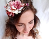 rustic chic bridal hair wreath - BOW ON TOP - white and pink flowers, vines, twigs