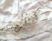 cherry blossom hair accessory - BELLISSIMA - white ivory flower head wreath, rustic wedding