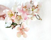 cherry blossom hair accessory - CHIEKO - twiggy bridal hair comb, pink, white