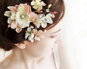 pastel pink / ivory flower hair accessory - DARCY - pearl, rhinestone bridal hair clip