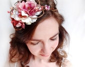 rustic wedding hair wreath - BOW ON TOP - white and pink flowers, vines, twigs