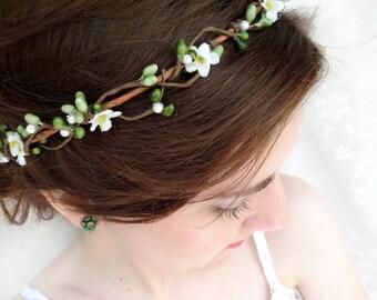floral circlet, green and white bridal hair circlet,  hair garland - PIPPA - bridal headband, flower girl hair wreath, floral hairpiece