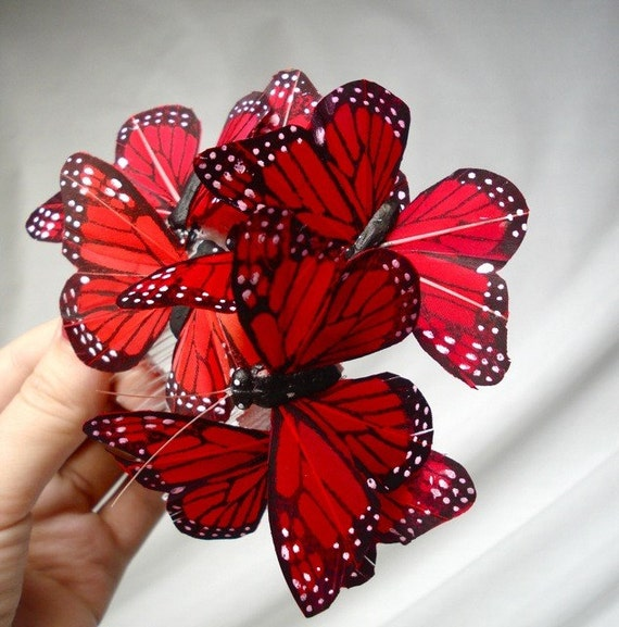 scarlet red butterfly hair comb - SWARM - whimsical wedding hair accessory
