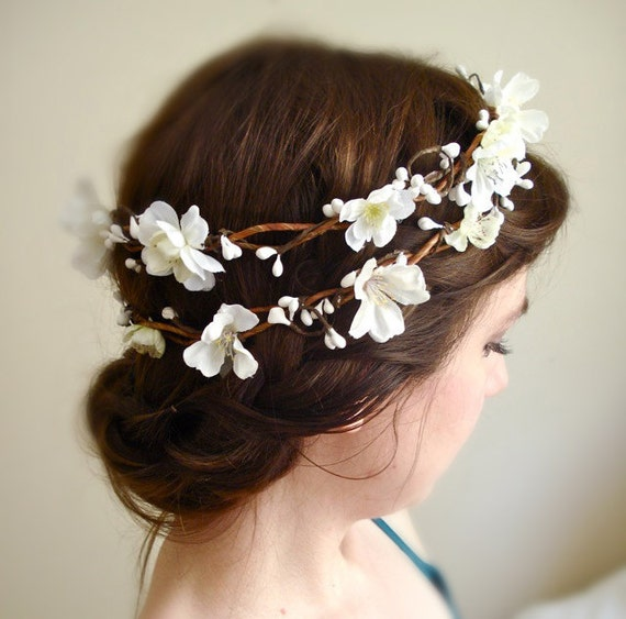 white flower crown cherry blossoms - SAKURA - a wedding head wreath, flower girl