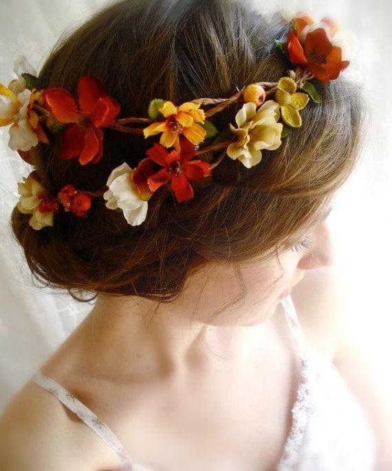 Fall Wedding Hairstyles With Flower Crown: Autumn Harvest Hair Wreath HARVEST WEDDING Flowers Burnt