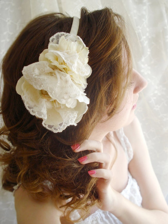 vintage lace ivory headband - NEST - a bridal accessory