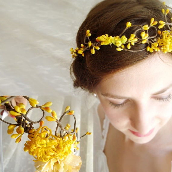 autumn wedding hair crown - PIXIE - bridal, yellow flower girl head wreath