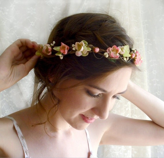 floral hair wreath circlet - MON PETIT - bridal pink green flowers