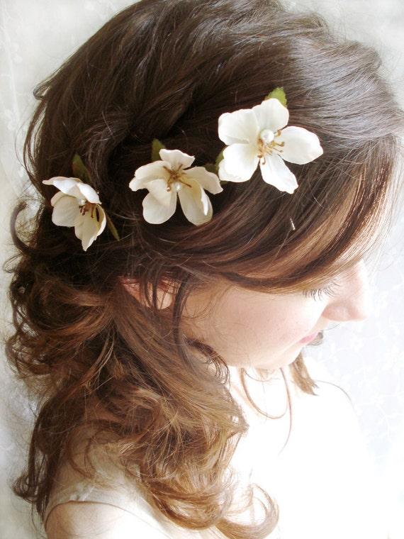 ivory flower woodland hair pins - SHEPHERD GIRL -  weddings, floral accessories, bridal