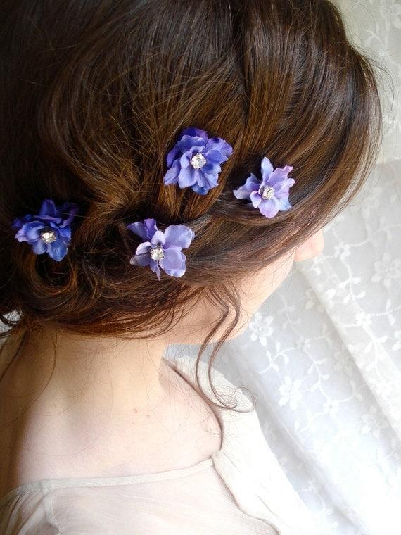 periwinkle purple flower hair clips - TWINKLE TWINKLE - 4 rhinestone accessories, wedding, bridal, prom