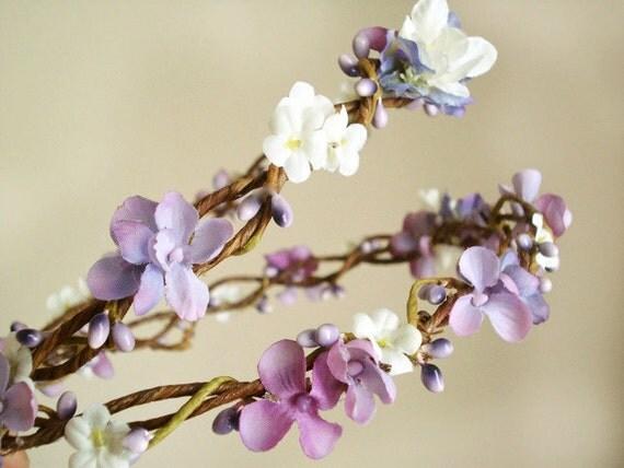 purple wedding flower wreath - DUTCH LILAC - a flower girl or bridal crown
