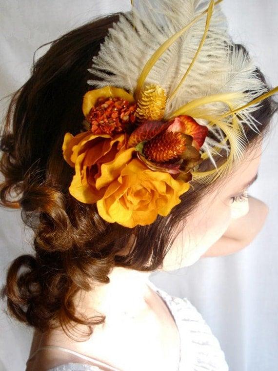 autumn wedding hair feather fascinator - WALDEN POND -  burnt orange, golden, ivory cream flowers