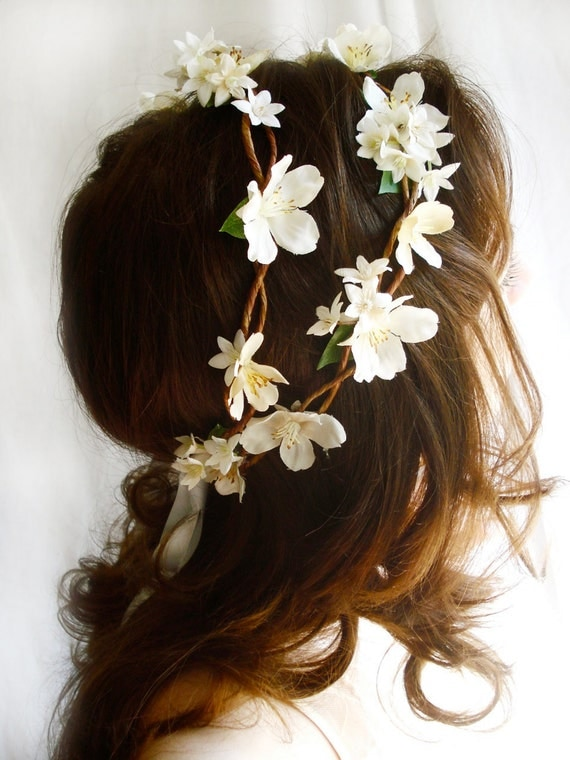 ivory wedding head piece rustic chic - BO PEEP -  flower head wreath