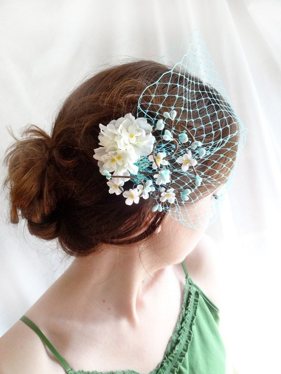 turquoise blue birdcage veil - PRETTY KITSCHY - retro bridesmaid, wedding photo prop, pinup, cocktail