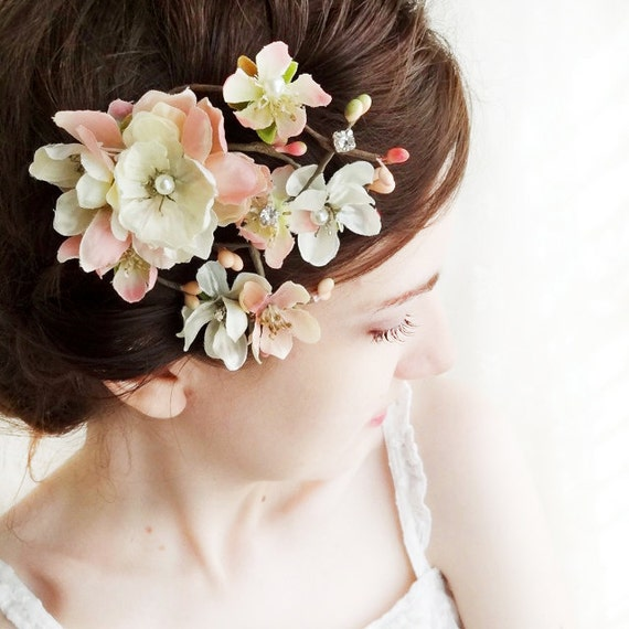 ivory wedding hairpiece, pink flower hair accessory - DARCY - pearl, rhinestone bridal hair clip