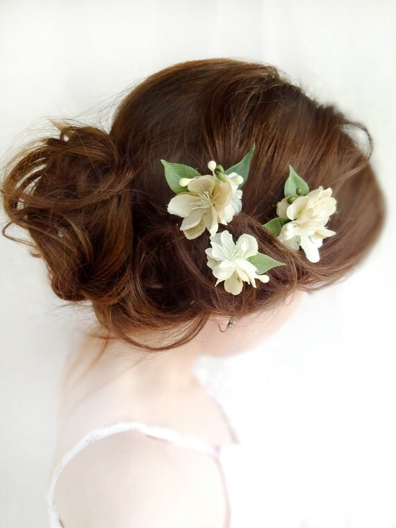 3 ivory flower hair pins - SHEPHERD GIRL -  weddings, floral accessories, bridal