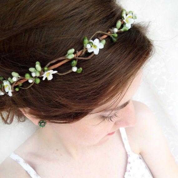green / white hair circlet - PIPPA - bridal or flower girl head wreath