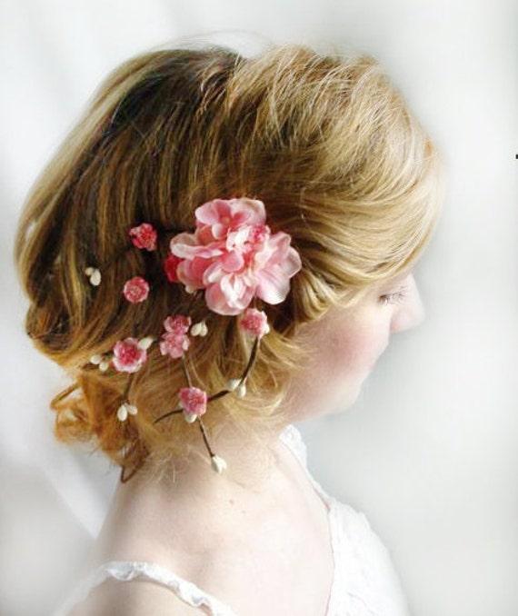 cherry blossom pink hair flower - SAKURA - bridal hair accessory clip