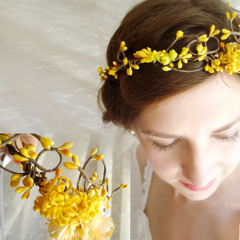 Autumn Wedding Hair Crown PIXIE Bridal Yellow Flower Girl
