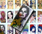 Printable 1x2 inch Rectangle Colorful Ladies I Images Pendant Digital Collage Sheet