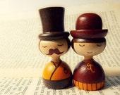 Vintage retro couple portrait ACEO - Mini Photo - Art dolls pumpkin fall autumn brown hat vintage dress