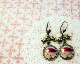Pink Romantic Earring Glass Dome Cabochon Jewelry - Victorian Art dolls romantic carmine garnet pink rose girl cameo