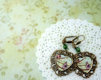 Valentine bird lover - Earring Cabochon Jewelry - Illustration green heart love spring stoking stuff