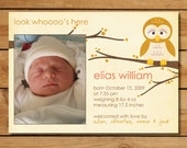 Photo Birth Announcement with a Cute Owl - Look Whooo's Here