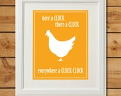 Chicken Nursery Art - Digital Art Print - Everywhere a Cluck Cluck